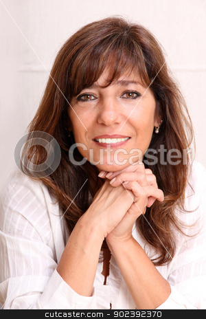 Portrait stock photo, Portrait of a beautiful mature woman. by Michael Osterrieder