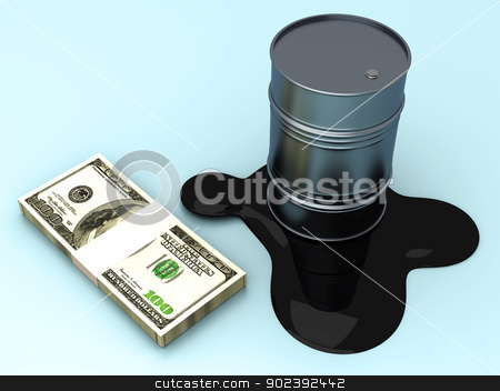 Commodities and Dollar stock photo, Gold and Oil, two commodities on the stock market. 3D rendered Illustration. by Michael Osterrieder