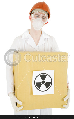 Scientist stock photo, Man in garb scientist keeps cardboard box with sticker of the sign to radiation by Alexey Romanov