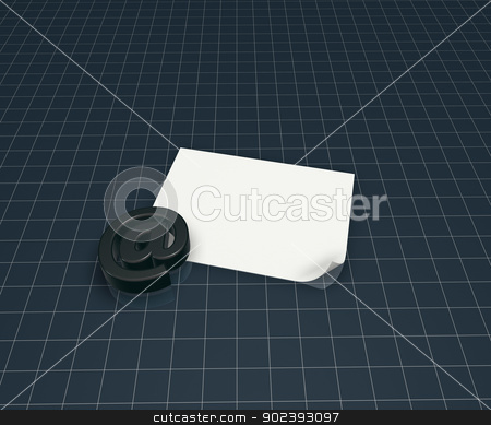 email symbol stock photo, email symbol and blank paper sheet - 3d illustration by J?
