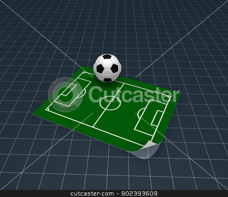 soccer playground stock photo, soccer ball and playground plan - 3d illustration by J?
