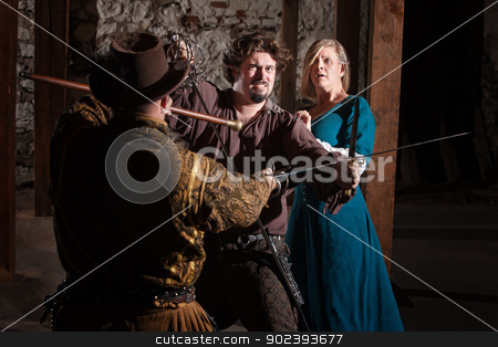 Medieval Sword Fight stock photo, Tough swordsman dueling with attacker while protecting a lady by Scott Griessel