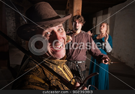 Proud Swordsman Wins the Fight stock photo, Happy swashbuckler defeating his enemy and lady during sword fight by Scott Griessel