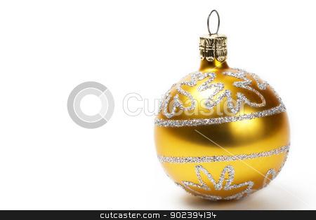 golden christmas ball with glitter stars on white background stock photo, golden christmas ball with glitter stars on white background by Rob Stark