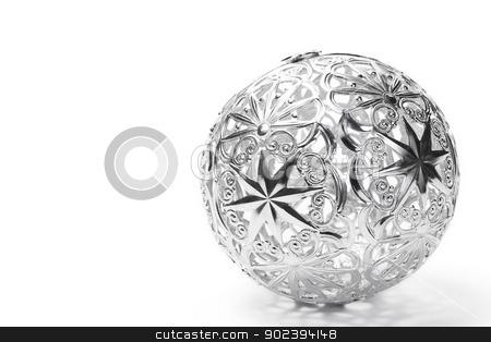 metal christmas ball on white background stock photo, metal christmas ball on white background by Rob Stark