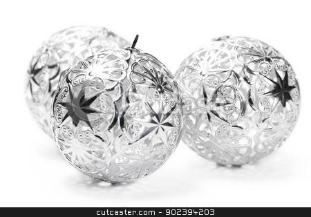 three metal christmas balls on white background stock photo, three metal christmas balls on white background by Rob Stark