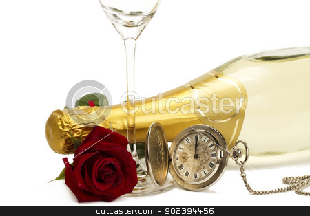 wet red rose under a champagne bottle with a old pocket watch and a empty champagne glass on white background stock photo, wet red rose under a champagne bottle with a old pocket watch and a empty champagne glass on white background by Rob Stark