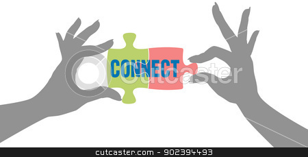 Hands find Connection puzzle solution stock vector clipart, People hands connect pieces of jigsaw puzzle solution to form connection by Michael Brown