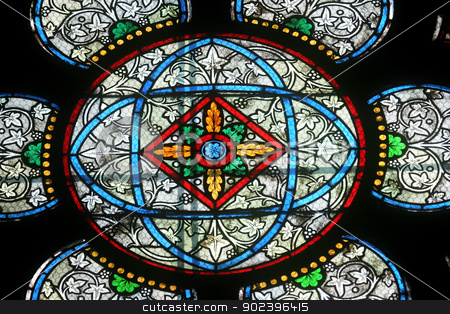 Colorful stained glass window in Cathedral Notre Dame de Paris stock photo, Colorful stained glass window in Cathedral Notre Dame de Paris by Zvonimir Atletic