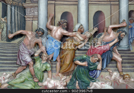 Christ Driving the Traders from the Temple stock photo, Christ Driving the Traders from the Temple by Zvonimir Atletic