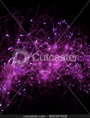 Pink fireworks on the dark sky stock photo, Photo of fireworks on the dark sky by GPimages