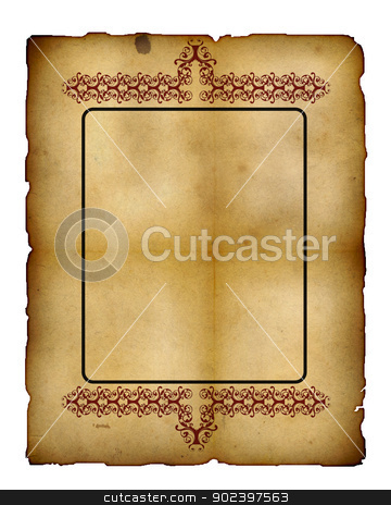 isolated on white stock photo, Vintage paper frame isolated on white , great grunge background for your projects with space for your text or image.. by GPimages