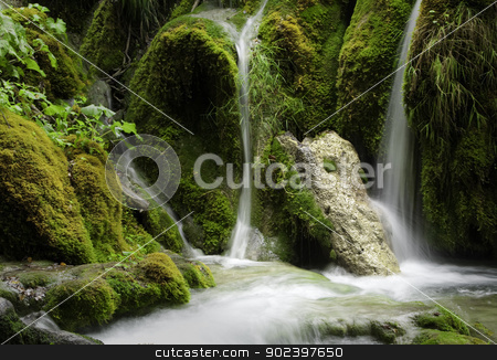 Waterfall at Plitvice Lakes stock photo, Beautiful waterfall at Plitvice Lakes National Park , UNESCO World Heritage Center. by GPimages