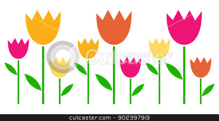 Colorful spring Tulips in row isolated on white stock vector clipart, Fresh cute colorful Tulips isolated on white. Vector by BEEANDGLOW