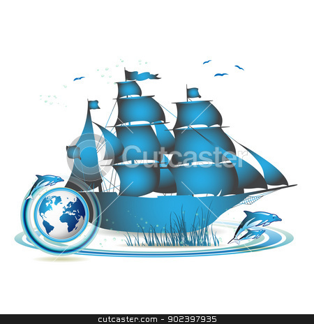 Blue Earth with ship stock vector clipart, Blue Earth with ship and dolphins isolated on white by Merlinul