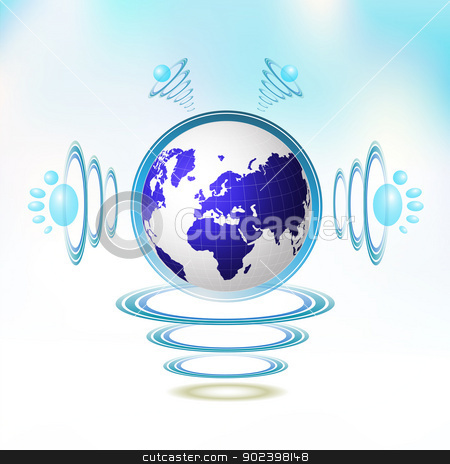 Blue Earth character stock vector clipart, Blue Earth character suspended with waves on blue background by Merlinul