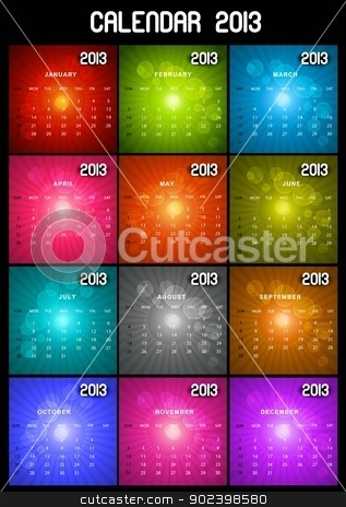 2013 calendar set black bright various colorful vector design stock vector clipart, 2013 calendar set black bright various colorful vector design by bharat pandey