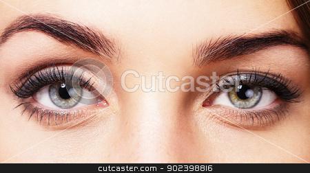 closeup of beautiful womans eyes stock photo, closeup of beautiful womans eyes by Rob Stark
