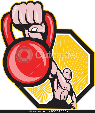 Crossfit Training Lifting Kettlebell Front stock vector clipart, Illustration of a strongman crossfit training lifting kettlebell or girya viewed from front on isolated background. by patrimonio