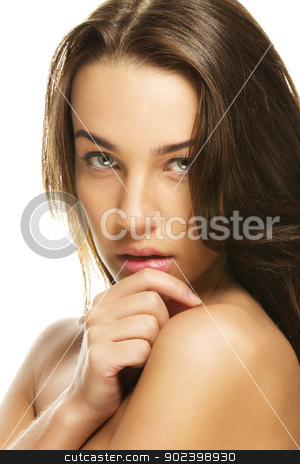 portrait of a gorgeous woman holding hand to her chin on white background stock photo, portrait of a gorgeous woman holding hand to her chin on white background by Rob Stark