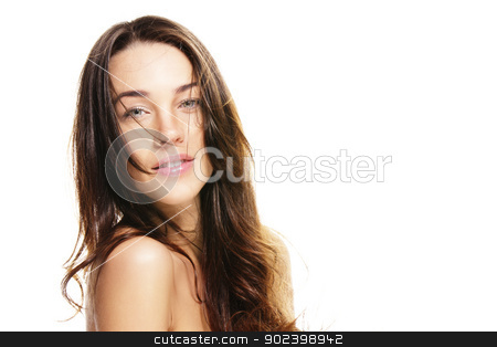 beautiful woman with unkempt hair on white background stock photo, beautiful woman with unkempt hair on white background by Rob Stark