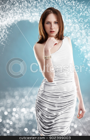 young elegant woman in front of a beautiful bokeh stock photo, young elegant woman in front of a beautiful bokeh by Rob Stark