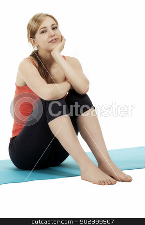 young sitting cute blonde fitness woman on white background stock photo, young sitting cute blonde fitness woman on white background by Rob Stark