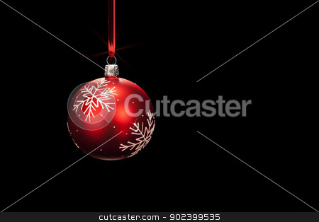 hanging red dull christmas ball on black background stock photo, hanging red dull christmas ball on black background by Rob Stark