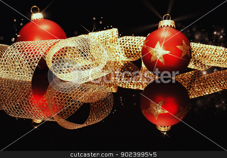 red christmas balls with glitter stars with golden metal ribbon on a black mirror  stock photo, red christmas balls with glitter stars with golden metal ribbon on a black mirror  by Rob Stark