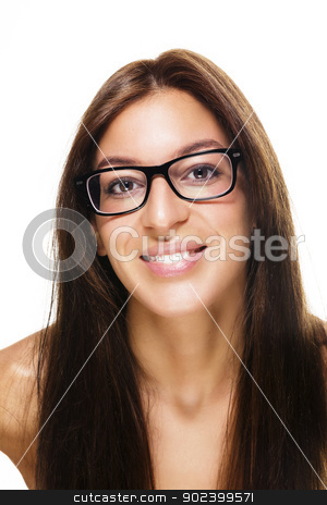 happy beautiful brunette woman wearing black glasses on white background stock photo, happy beautiful brunette woman wearing black glasses on white background by Rob Stark