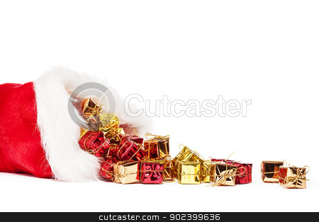 small colorful christmas presents falling from santas hat on white background stock photo, small colorful christmas presents falling from santas hat on white background by Rob Stark