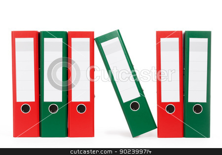row of ring binders with one aslope on white background stock photo, row of ring binders with one aslope on white background by Rob Stark