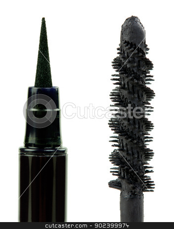 mascara and eye pencil stock photo, mascara and eye pencil on white background by Ruslan Kudrin