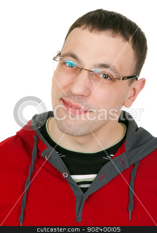 Portrait of a guy with glasses in a red dress  stock photo, Portrait of a guy with glasses in a red dress on white background by Ruslan Kudrin