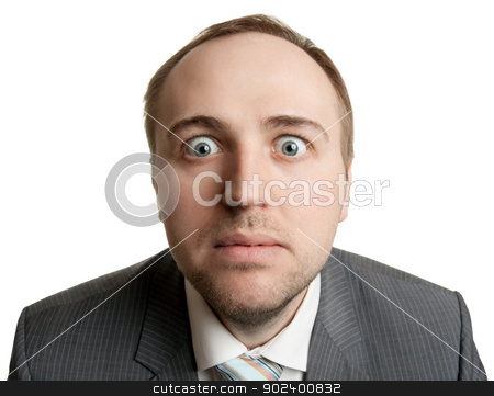 mad manager on white background stock photo, Crazy businessman making funny faces, isolat on white by Ruslan Kudrin