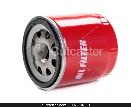 New oil filter car in red steel case stock photo, New oil filter car in red steel case. Isolate on white. by Ruslan Kudrin