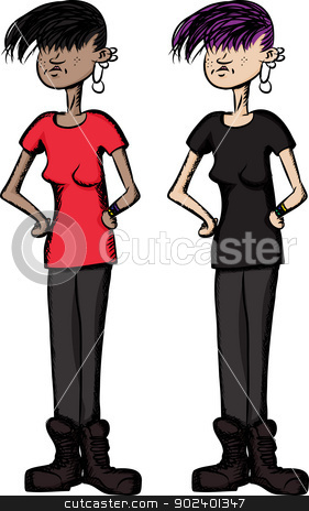 Girl with Hands on Hips stock vector clipart, Freckled punk girl with hands on hips by Eric Basir