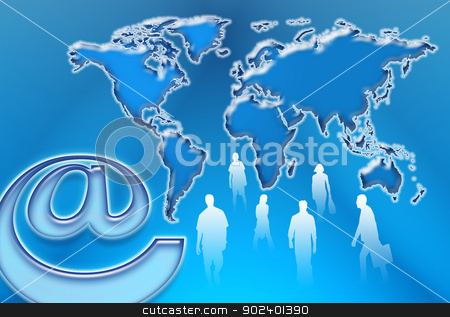 Communication in the world stock photo, Communication and Internet on a world map by Cochonneau
