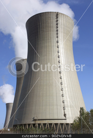 Nuclear stock photo, photo of a nuclear power plant chimneys active by Cochonneau