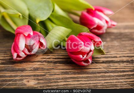Bouquet of red tulips stock photo, Bouquet of red tulips on rustic wooden background by Grafvision