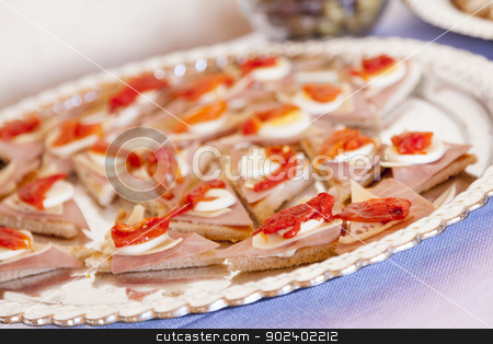 Various Italian Appetizers on Table stock photo, Various Italian Appetizers on Serving Table. by Andy Dean
