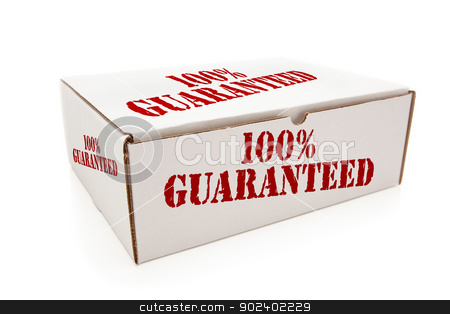 White Box with 100% Guaranteed on Sides Isolated stock photo, White Box with the Phrase 100% Guaranteed on the Sides Isolated on a White Background. by Andy Dean
