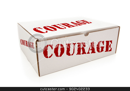 White Box with Courage on Sides Isolated stock photo, White Box with the Word Courage on the Sides Isolated on a White Background. by Andy Dean