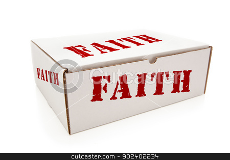 White Box with Faith on Sides Isolated stock photo, White Box with the Word Faith on the Sides Isolated on a White Background. by Andy Dean