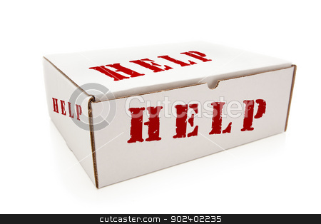 White Box with Help on Sides Isolated stock photo, White Box with the Word Help on the Sides Isolated on a White Background. by Andy Dean