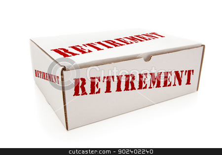 White Box with Retirement on Sides Isolated stock photo, White Box with the Word Retirement on the Sides Isolated on a White Background. by Andy Dean