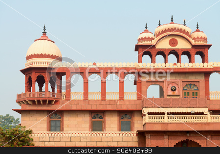 Building exterior in widespread indian style stock photo, Building exterior in classical widespread indian style with arches, towers and balcony by Iryna Rasko