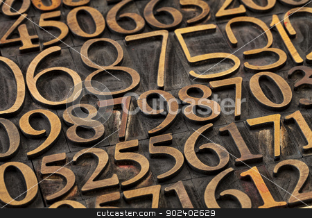 number abstract stock photo, number abstract -  a variety of letterpress wood type printing blocks by Marek Uliasz