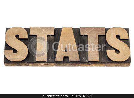 stats in wood type stock photo, stats (statistics) - isolated word in vintage letterpress wood type printing blocks by Marek Uliasz