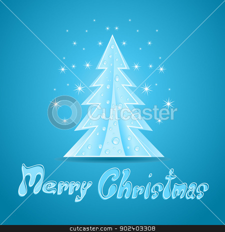 Blue Christmas greeting Card. Illustration stock vector clipart, Blue Christmas greeting Card. Illustration by Jupe